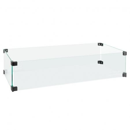 Glasombouw 80 cm x 30 cm met zwarte hoekverbindingen